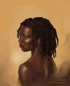 Painting of dark brown skinned young lady.