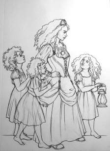 Young Woman and Girls